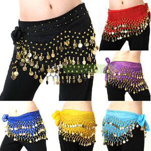 New-Belly-Dance-Hip-Skirt-Scarf-Wrap-Belt-With-128-Golden-Coins-Many-Colors