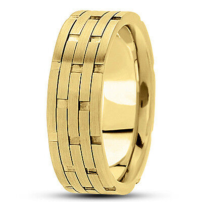 Brick Design Wedding Band Ring (NEW MENS 14k YELLOW GOLD BRICK DESIGN WEDDING BAND SATIN FINISH RING 7.5mm S10 )