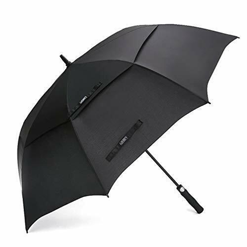 G4Free 62 Inch Automatic Open Golf Umbrella Extra Large Stick Umbrellas (Black)