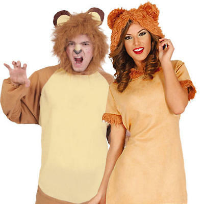 Lion Adults Fancy Dress Jungle Zoo Lioness Animal Mens Ladies Costume Outfits
