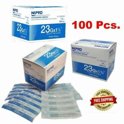 Nipro Hypodermic Needle 23g X 1 12 0.6 X 40 Mm. Thin Wall Box 100pcs