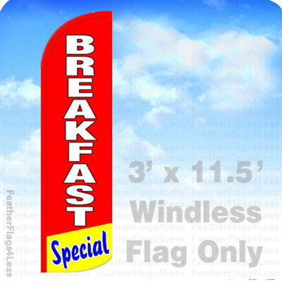 Breakfast Special - Windless Swooper Flag Feather Banner Sign 3x11.5 Rq