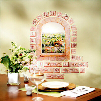 WALLIES TUSCAN WINDOW wall stickers MURAL 31 decals Italy bricks scenic - Plastic Brick Wall