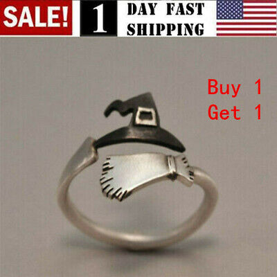 2 Pcs Cute Halloween Ghost Witch Broom Ring Open Rings Cosplay Jewelry Prop US! Fashion Jewelry