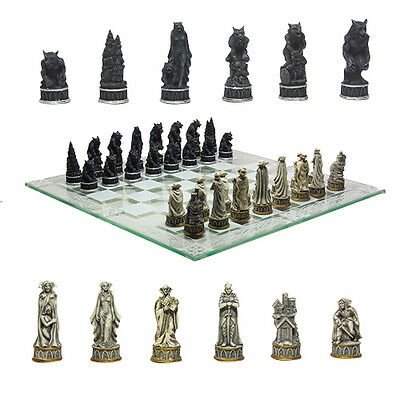 Vampire vs. Werewolf Chess Set Collectible with Glass Chessboard.Gorgeous 9381