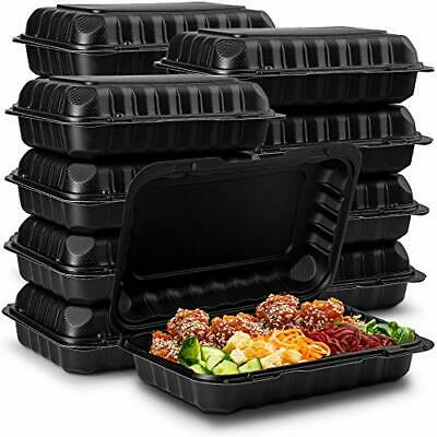 Eco-friendly Meal Prep Containers 50-pack 9x6x3 Black Disposable To Go Clamsh
