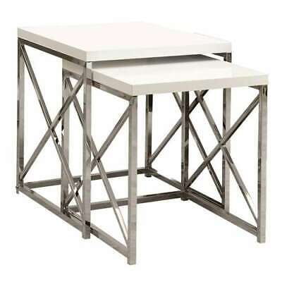 Monarch Specialties Contemporary Accent 2-Piece Nesting End Tables, White (Used)