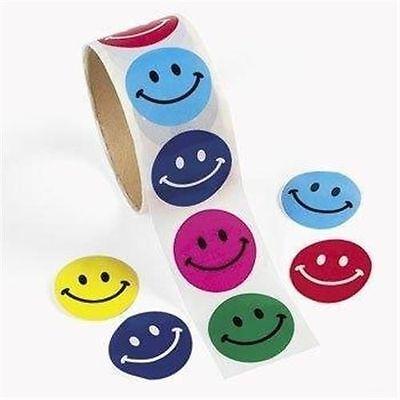 Roll of 100 Smile Happy Face Stickers Kids Crafts Decor Birthday Party Favors
