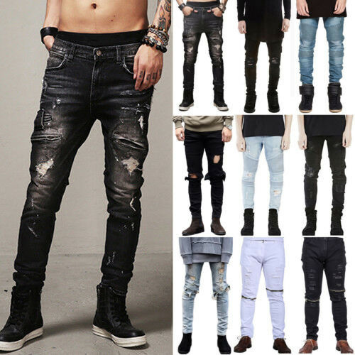 Men Stretch Ripped Skinny Biker Jeans Destroyed Distressed S