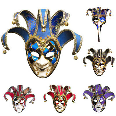 Venetian Masquerade Masks Full Face Jester Joker Cosplay Wall Mask Halloween