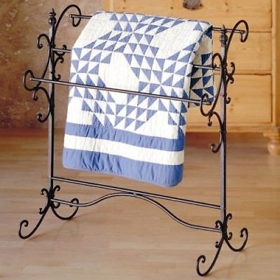 Iron Quilt Rack Tuscan Style Blanket Towel Holder Rustic Vintage Bedroom Decor  (Iron Quilt)