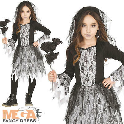 Ghost Girls Fancy Dress Dead Gothic Bride Kids Childs Halloween Costume Outfit