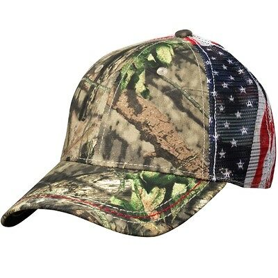 OUTDOOR CAP AMERICAN FLAG MESH BACK CAP, Mossy Oak Country for sale  Shipping to South Africa