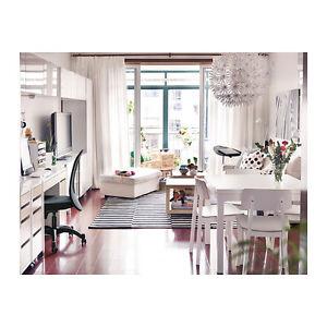 Ikea bjursta tavolo allungabile bianco 90 129 168x90 cm ebay - Tavolo rotondo bianco ikea ...