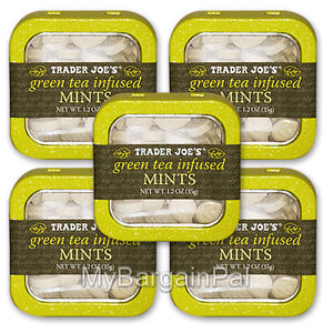5 x EACH TRADER JOE'S GREEN TEA INFUSED MINTS NATURAL NO PRESERVATIVES FREE SHIP
