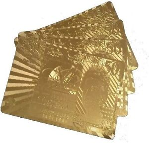 NEW-50-Edition-24K-Gold-Plated-Playing-Cards-Poker-Deck-99-9-Pure-Plastic-Card