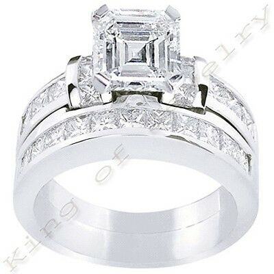 3.82 Ct. Asscher Cut w/ Princess Cut Diamond Bridal Ring Set G,VS1 GIA 18K Gold