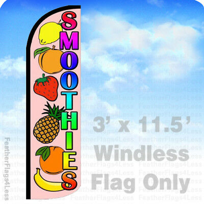 Smoothies - Windless Swooper Flag Feather Banner Sign 3x11.5 Fruits Q