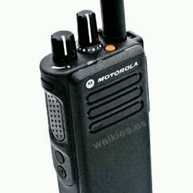 Two Motorola DP4400 portable radios with batteries
