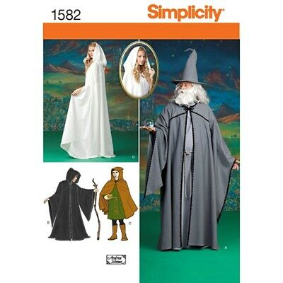 Simplicity 1582 Pattern for LOTR Elf Cloak Cape Gandalf Galadriel Hobbit - Uncut - Gandalf Cloak Pattern
