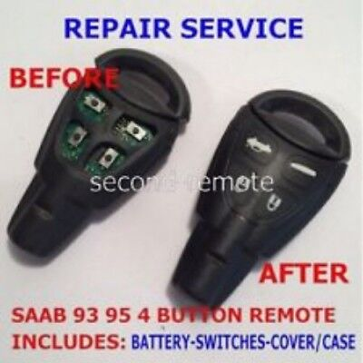 Repair Service for Saab 93 95 Aero 4 button Remote Key Fob Switch Replacement