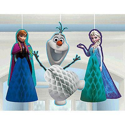 DISNEY FROZEN HANGING HONEYCOMB DECORATIONS (3) ~ Birthday Party Supplies Elsa (Frozen Elsa Party Decorations)
