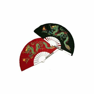 Metal Dragon Chinese Fighting Fan Red