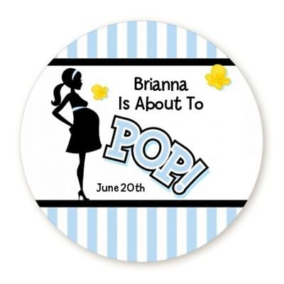 About To Pop Blue - Round Personalized Baby Shower Sticker Labels