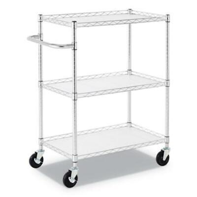 Alera Alesw333018sr 3-shelf Wire Cart With Liners 34 12 X 18 X 40 Silver