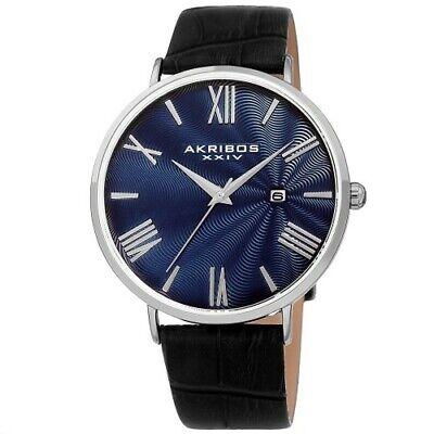 Men's Akribos XXIV AK1041 Quartz Date STAMPED SUNRAY Dial Leather Strap Watch