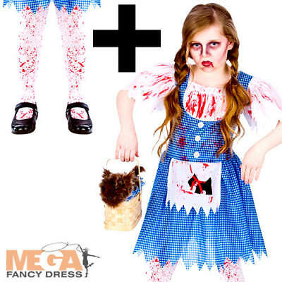 Deadly Dorothy + Tights Girls Fancy Dress Halloween Childs Kids Zombie Costume  (Dead Dorothy Halloween Costume)