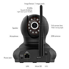 DBPOWER hd Wireless WiFi IP cctv Camera with Two Way Audio mic Night Vision, Motion Detection