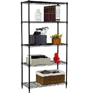 5-Shelf-Home-Style-Black-Steel-Wire-Shelving-36-by-14-by-72-Inch-Storage-Rack-5