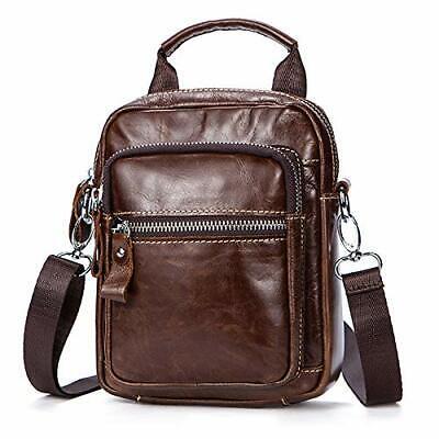 Men's Genuine Leather Messenger Bag Cowhide Business Shoulder Bag Crossbody Bag Cowhide Leather Messenger Bag