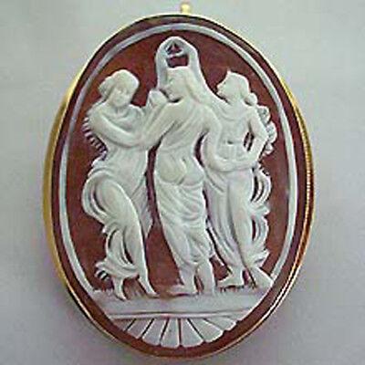 Ovaler Anhänger od. Brosche - braune Camee - Gold 585 Goldanhänger - Goldbrosche