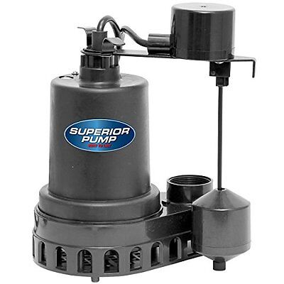 Superior Pump 92572 Thermoplastic Sump Pump With Vertical Float Switc 12 Hp