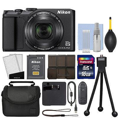 Nikon Coolpix A900 20MP 4K Digital Camera 35x Optical Zoom Black WiFi + 16GB Kit