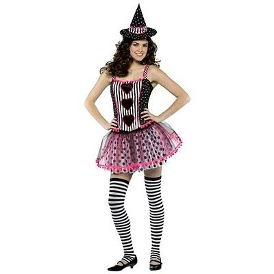 Spelladonna Witch Striped Cute Dress Up Halloween Teen Adult Costume 3 COLORS
