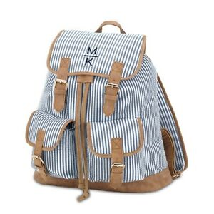 Large Personalized Cotton Fabric Backpack With Faux Leather Trim