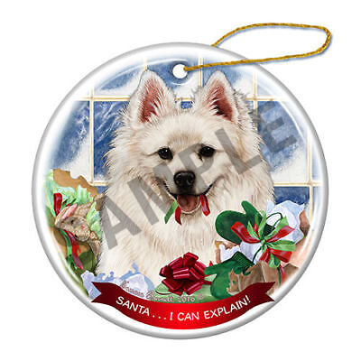 American Eskimo Howliday Porcelain China Dog Christmas Ornament H2