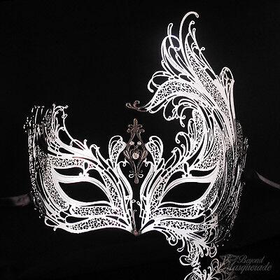 Swan Filigree Metal Mardi Gras Venetian Masquerade Mask for Women [Silver] (Mardi Gras Woman)