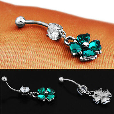 Retro Crystal Clover NavelJHSexy Belly Button Ring Body Piercing Jewelry Pop PN