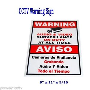 AUDIO-VIDEO-SURVEILLANCE-SIGN-SPANISH-ENGLISH-CCTV-WARNING-SECURITY-Camera-Sign
