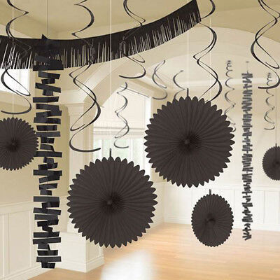BLACK DELUXE ROOM DECORATING KIT (18pc) ~ Wedding Birthday Party Supplies -