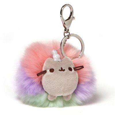 Gund NEW * Pusheen Deluxe Pusheenicorn Pom Key Chain * Poof Cat Keychain Plush