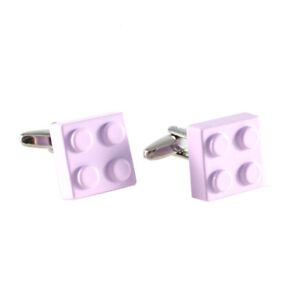 New Novelty Rhodium Plated Light Pink Color Lego Block Cuff Link 0387