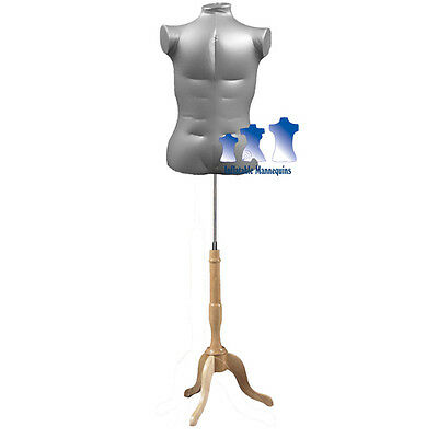 Inflatable Male Torso Extra Large With Ms7n Stand Silver