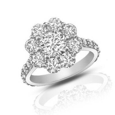 2.90 ct Round Cut Diamond Cluster Engagement Ring Best Buy on (Best Round Engagement Rings)