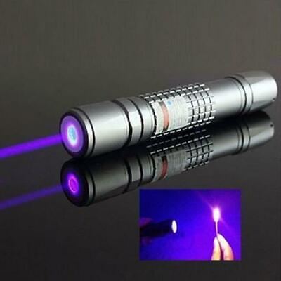 High Power Blue Purple Laser Pointer Burning Light Beam Pen with Battery Charger