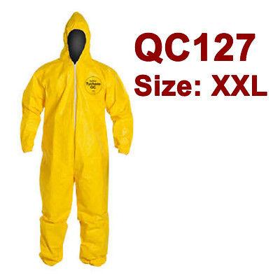 Dupont Tychem Coverall. Standard Hood. Elastic Wrists Ankles - Qc127 - Xxl